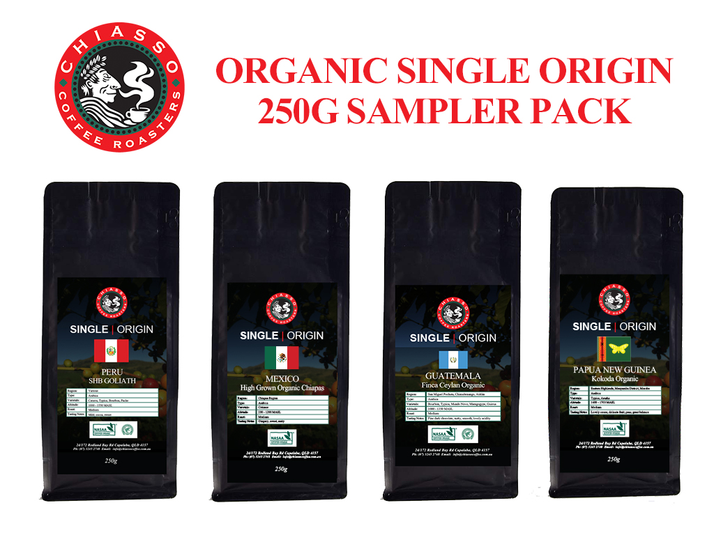 ORGANIC SINGLE ORIGIN SAMPLER PACK 4X250G